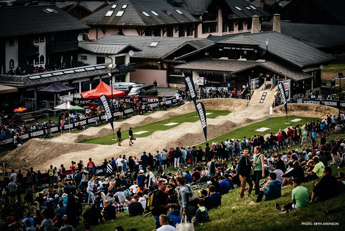 Crowd at the Pumptrack, Crankworx Les Gets 2017